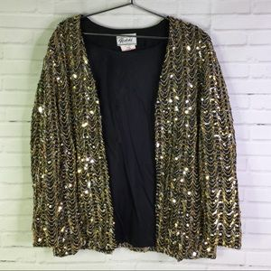 Gold Silver All Over Sequin Glam Open Front Blazer